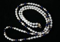 82cm Long White Pearl Necklace & Lapis Lazuli and 9ct Gold Beads